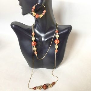 Vintage Brown Gold Bead Necklace Hoop Earring Set